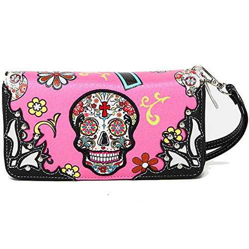 Western Wristlet Purse for Women Sugar Skull PU Leather Smartphone Wristlet Wallet