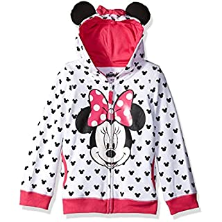 Disney Little Girls' Minnie Hoodie with Bow and Ear, White, Medium-5/6