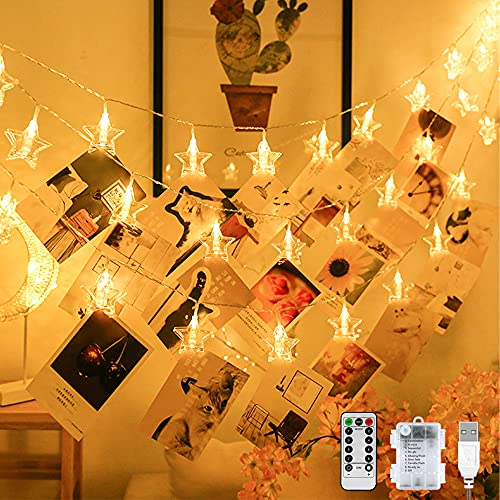 LED Fotoclips Lichterkette 2.2M 20LED 8 Modi Lichterkette mit klammern für fotos - Batteriebetrieben/USB Foto Lichterkette Dekoration für Zimmer, Wohnzimmer, Weihnachten, Hochzeiten, Party(Sternen)