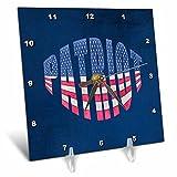 3dRose Andrea Haase Patriotic Art - America Patriotic Typography Flag National Holiday Celebration - 6x6 Desk Clock (dc_282634_1)