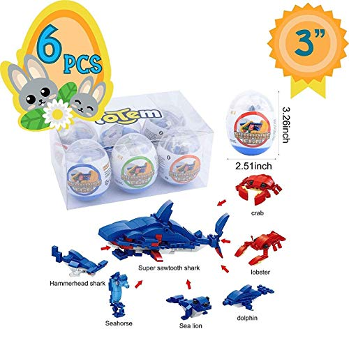 (Totem World 6 Filled Easter Egg Building Toys - Fish Ocean Sea Animal Set - Age 6-12 Learning Educational Inside 3