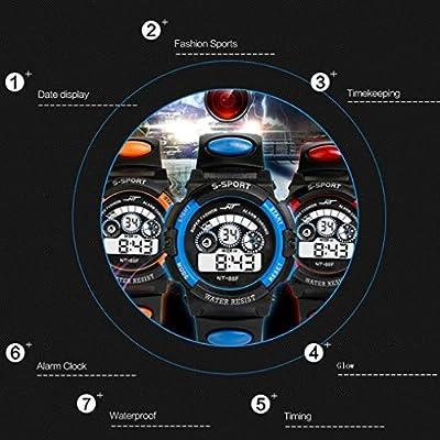 Watch Sports,BCDshop Boy's Multifunction Waterproof Digital LED Quartz Alarm Date Sports Wrist Watch Gift