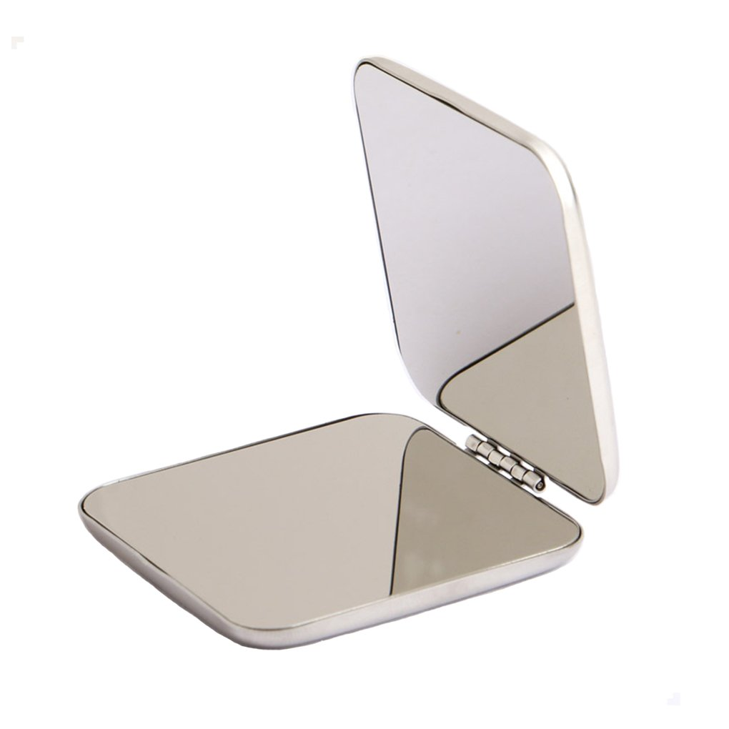 Mini Pocket Mirror, All Stainless Steel Square Travel Cosmetic Mirror in 2.2 Inch Size Omirro