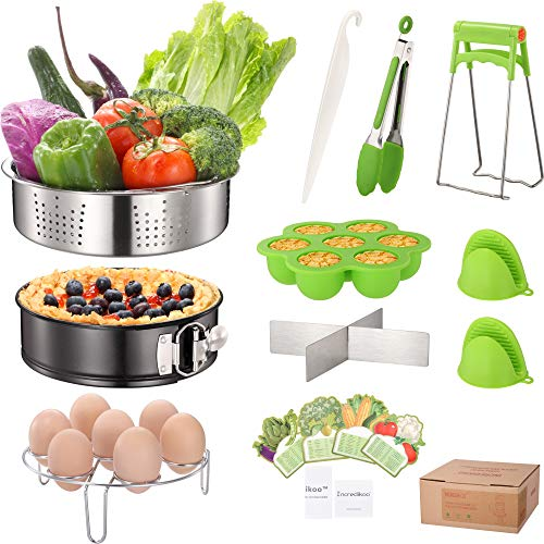 Electric Pressure Cookers Accessories Set Compatible With Instant Pot 5, 6, 8 Quart, Stainless Steel Steamer Basket, Non-Stick Springform Pan, Egg Rack Trivet, Silicone Egg Bites Mold, Mitts and More