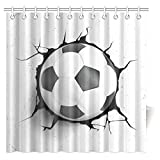 InterestPrint Sports Decor Shower Curtain, Football Soccer Ball Polyester Fabric Bathroom Shower Curtain 72 X 72 Inches Long