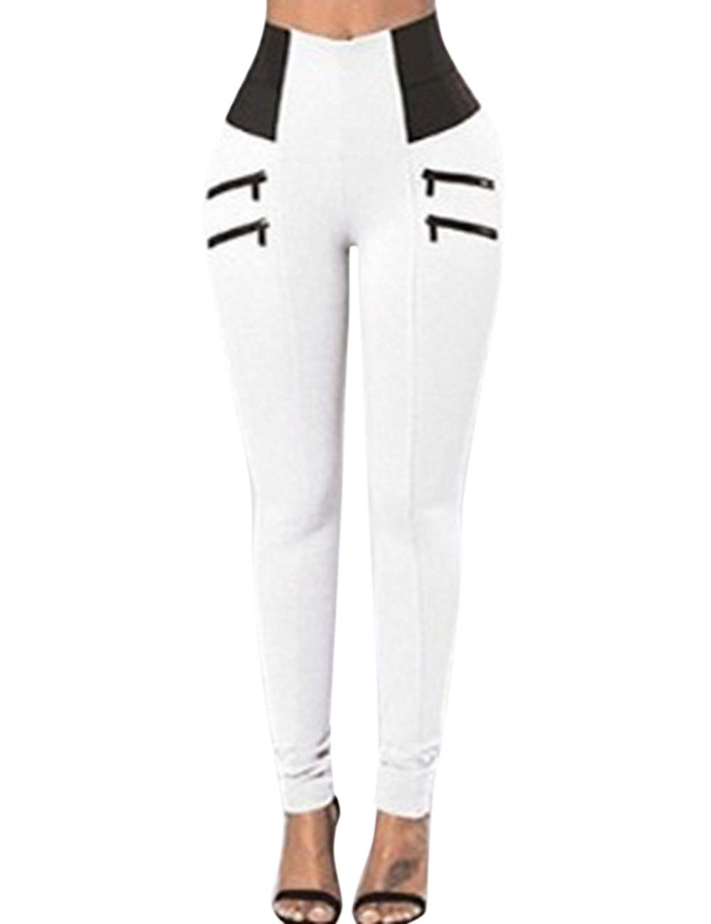 PinShang Women Solid Color High Waisted Leggings Super Soft Full Length Opaque Slim