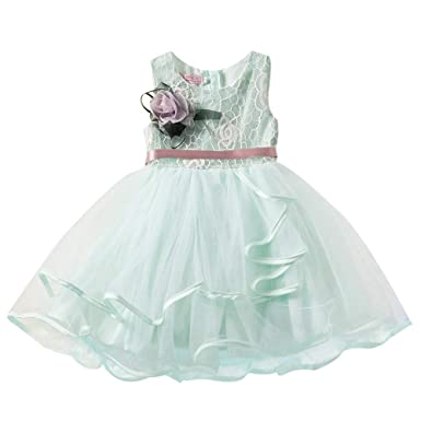 Saingace 1 5 Years Kids Little Baby Girl Lovely Lace Flower Princess Dress Birthday Gown