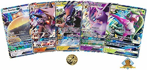 Random Pokemon Oversize GX Lot! 5 Pokemon Oversized GX's With A Pokemon Coin! By Golden Groundhog