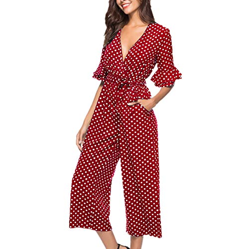 Women Dot Printed Long Jumpsuit Summer Sashes Wide Leg Office Jumpsuits Romper (M, Red)