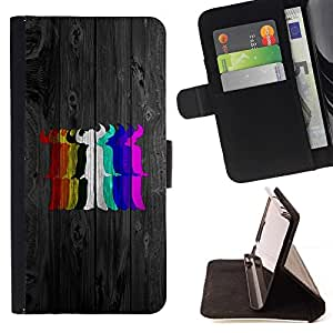 DEVIL CASE - FOR Samsung Galaxy S4 Mini i9190 - Rainbow Colors Devil - Style PU Leather Case Wallet Flip Stand Flap Closure Cover
