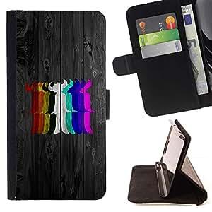 DEVIL CASE - FOR LG G2 D800 - Rainbow Colors Devil - Style PU Leather Case Wallet Flip Stand Flap Closure Cover