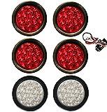 """6 Truck Trailer 4"""" Round LED Light (4 RED + 2 WHITE) Brake Stop Turn Tail Back up Reverse Fog"""