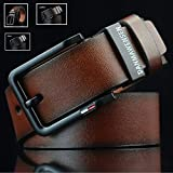 rackerose New Mens Leather Belt Business Casual Dress Metal Buckle(Coffee,One Size)