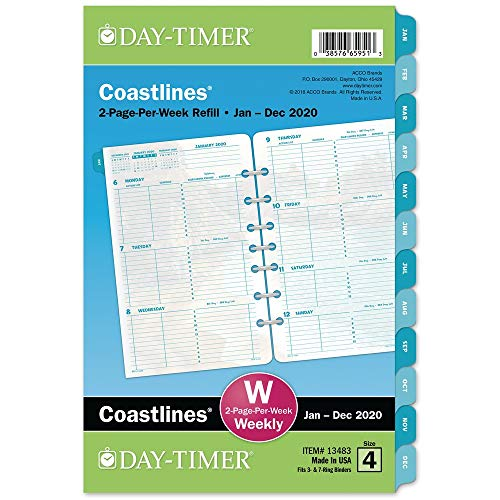 (Day-Timer 2020 Weekly Planner Refill, Two Pages Per Week, 5-1/2