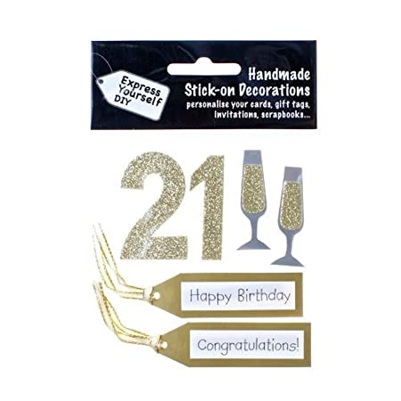 Pack Of 21st Birthday Card Toppers Gold Glitter For Making Embellishment