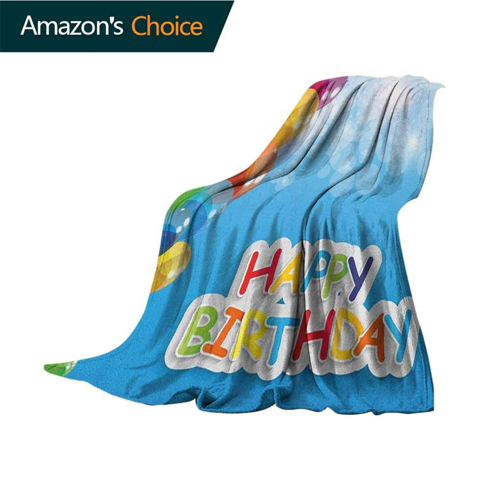 Birthday Sand Blanket,Vibrant Balloons in The Sky Sun Beams Abstract Style Air Celebration Theme Print Weighted Blanket for Adults Kids,Better Deeper Sleep,50'' Wx70 L Multicolor