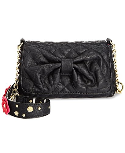 Betsey Johnson Outlet (Betsey Johnson Womens Faux Leather Embellished Shoulder Handbag Black Small)