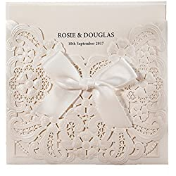 1X Wishmade White Laser Cut & Embossed Invitations Kit With Ribbon Matched With RSVP & Thank You Card For Wedding Party Birthday Occasion CW6112