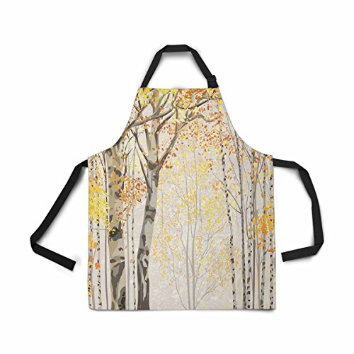 InterestPrint Autumn Fall Time Harvest Birch Grove Tree Apron Kitchen Cook for Women Men Girls Chef with Pockets, Yellow Forest Tree Funny Adjustable Bib Baking Paint Cooking Apron Dress
