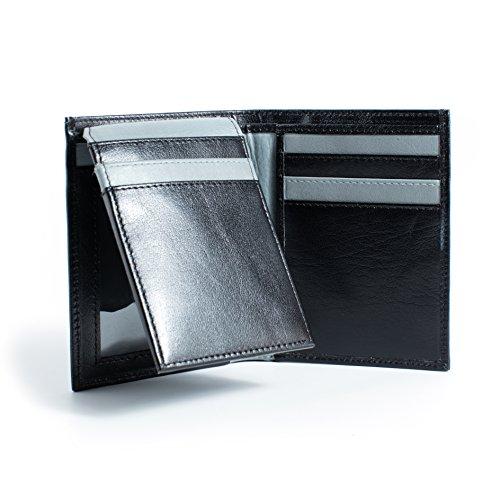 Amazon.com: Cartera RFID de piel auténtica – Vertical de dos ...