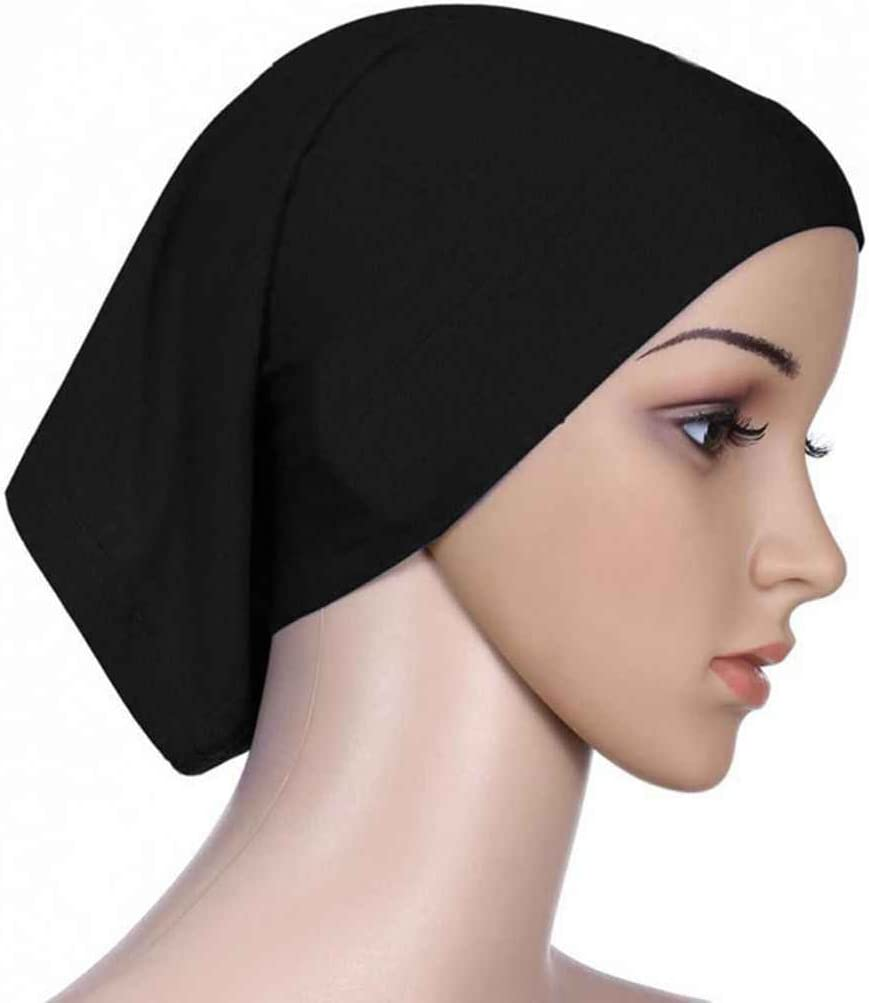 Gankmachine Il Sudore Donne Foulard Elastico Cotone Assorbente Underscarf Hijab cap Tubo Nero