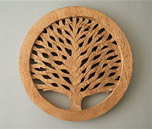 "Christmas Gifts Set of 2 Wooden Trivet Tea Pot Holder Tree of Life Design Heat Resistant Durable Handmade Mango Wood Kitchen Dining Table Accessories Dia 8"" Inch (Set of 2 Natural)"