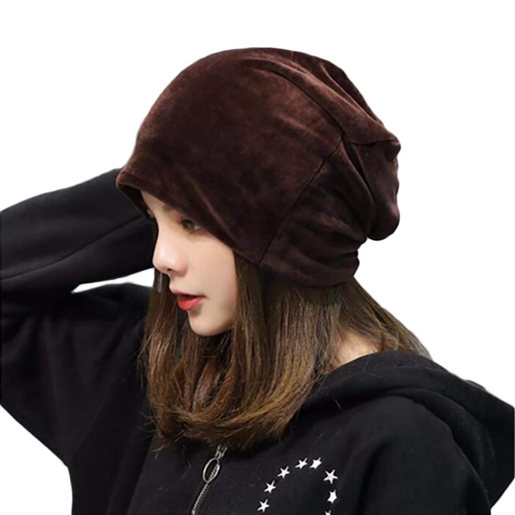 LOCAL LION Women's Gold Velvet Heap Hat Warm Skull Cap Slouchy Winter Thick Windproof Turban Muslim Headscarf Anti-Cold New