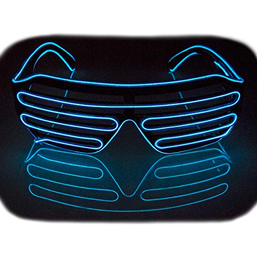 Fadory Led Light Up Party Glowing Glasses for Halloween Costume Parties Decorations (Blue) ()