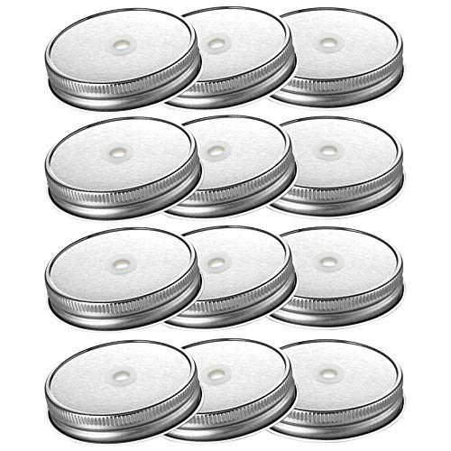 Connyam 12pcs Pack Stainless Steel Wide Mouth Mason Jar Lids with Straw Hole for Ball & Kerr Mason Jar