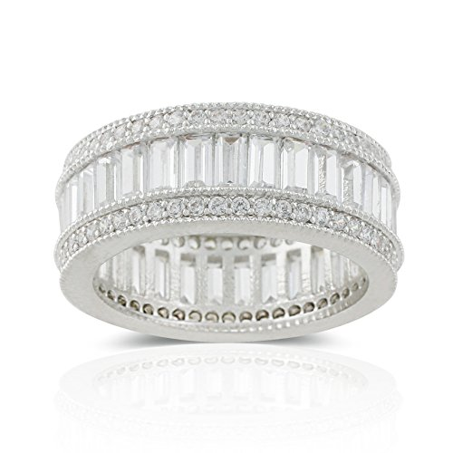 JanKuo Jewelry Rhodium Plated Bridal Baguettes Cubic Zirconia Band Ring (10)