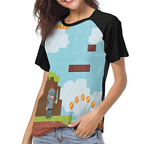 - Video Games,T Shirt Female Tight S-XXL(This is for Size Medium) Arcade World Kids 90s Fun Theme Knight with Fireball Bonus Stars Coins Image,Summer Casual Short Sleeve