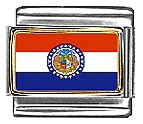 State of Missouri Photo Flag Italian Charm Bracelet Jewelry Link