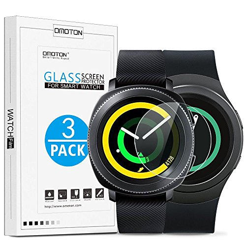 [3 Pack] Samsung Gear Sport / Gear S2 Screen Protector, OMOTON Tempered Glass Screen Protector for Gear Sport / Gear S2 [9H Hardness] [No-Bubble] [Crystal Clear] (S2 Samsung Screen)