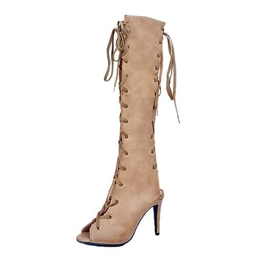 52899c7a2b Botas para Mujer Primavera/otoño Cruz con Cordones Vendaje con tacón de  Aguja Sandalias de