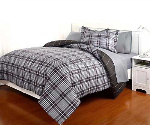 Dovedote 7 Piece Reversible Comforter and Matching Sheet Set for All Seasons, Gavin, Queen, Grey/Black - Plaid Comforter Sets