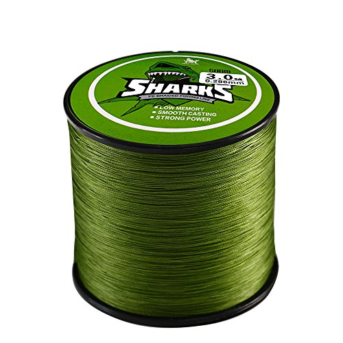 Handing 4 Strands Braided Fishing Line 500m/547yd 14-80lb Green for Surf Fishing, Bass Fishing Low Memory Braided Line Fishing Tackle