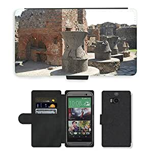 Hot Style Cell Phone Card Slot PU Leather Wallet Case // M00171527 Pompeii Kitchen Ancient Italy Europe // HTC One M8