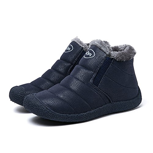 Gomnear Snow Boots Women Men Hiking Shoes Couple Lightweight Unisex Winter Anti-slip Warm Sneaker Blue Jp19w