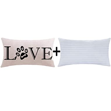 ITFRO Great Pet Dog Lover Gift Sayings Words Love Paw Prints Bone Lumbar Sofa Decorative Beige Cotton Linen Throw Pillow Case Cushion Cover with Insert Oblong 12x20 inches