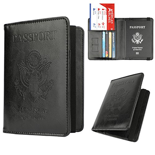 GDTK Leather Passport Holder Cover Case RFID Blocking Travel Wallet (Black)