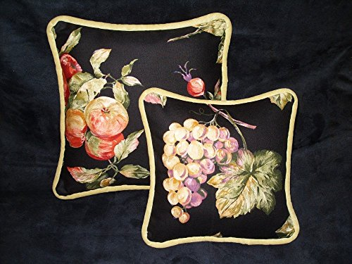 "Suede Floral Pillow (Petite ""Two-of-a-Kind"" Pillows feature Wine Country Decorator Print fabrics. Backs are a sunny, lemony faux suede. 12"" x 12"" and 9.5"" x 9.5"" Handmade in the USA in my Smoke-free home.)"