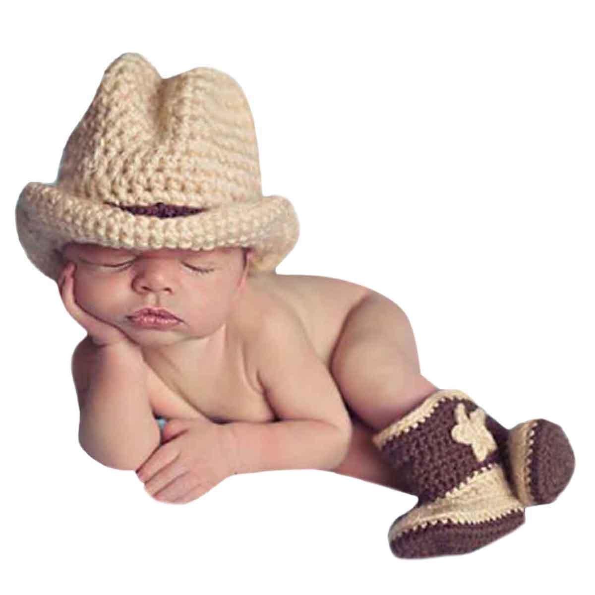 AKAAYUKO Neonato Ragazzo Ragazza Knitted Fotografia Props Costume (Cowboy Cappello Stivali) grprops-120