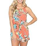 Spadehill Womens Sleeveless Cotton Beach Romper Short Pants Halter Boho Floral Jumpsuit Orange S