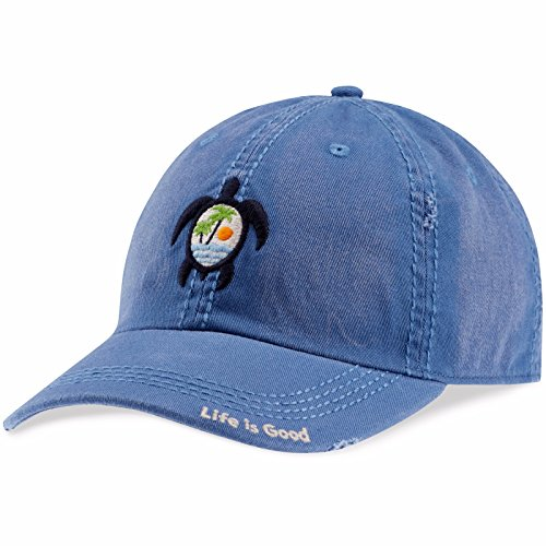 Life is good Unisex Sunwashed Chill Cap Sea Turtle Scene, Vintage Blue, One Size - Turtle Scene