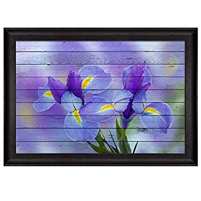 Purple Irise Flowers Over a Blurry Purple Background with Wood Panels Nature Framed Art, Top Quality Design, Pretty Handicraft
