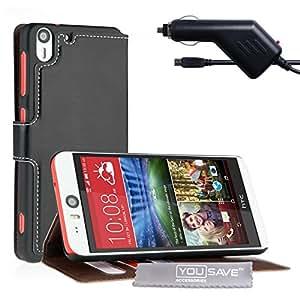 Yousave Accessories de piel sintética tipo libro funda con función de atril con cargador de coche para HTC Desire Eye - negro