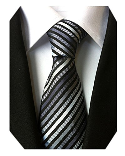 Secdtie Men's Narrow Stripe Pattern Tie Grey Black White Business Necktie TW07 -