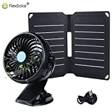 FlexSolar 9W Solar Fan with Solar Panel and Clip-On Fan Ventilator for Baby Stroller, Green House, RV, Pet House