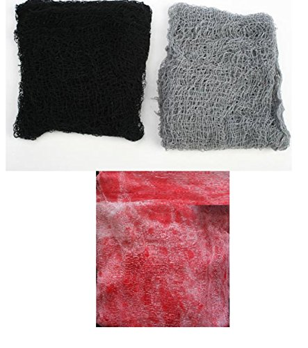 Halloween Creepy Cloth 3 Piece Set for Home Decoration. Size of Each Is 30 X 72. Colors Are Black, Gray, and Bloody. + 2 Big 10 Inch Scary Realistic Looking Spiders