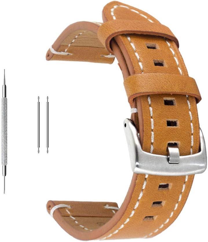 Correa de reloj de piel auténtica extrasuave de Berfine, recambio unisex, color negro, 18 mm, 20 mm, 22 mm